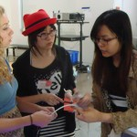 Natalia Fedner, Susan Zhang & Vivia Liu working on Compass H2O wristband at Extreme Wearables Designathon at Art Center / Media Design Practices